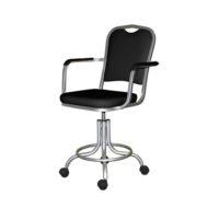 Кресло КР-09 (на винтовой опоре с подлокотниками, цвет черный)